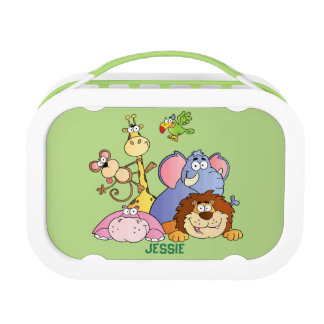 Lunchbox-Green-Jungle Animals Lunch Box