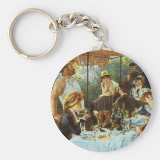 Luncheon of the Boating Party by Pierre Renoir Basic Round Button Key Ring