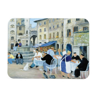 Lunchtime in a Market Square Tuscany Magnet