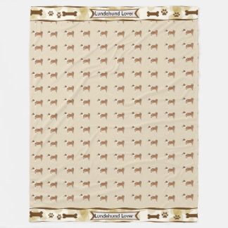 Lundehund, Tan Leaves dogbones and pawprints Fleece Blanket
