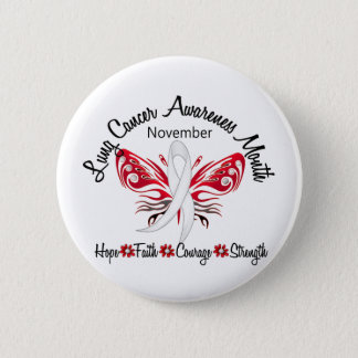Lung Cancer Awareness Month Butterfly 3.2 6 Cm Round Badge