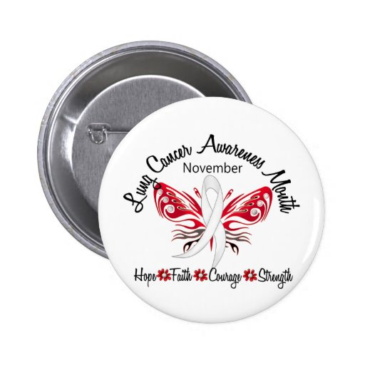 Lung Cancer Awareness Month Butterfly 3.2 Pinback Buttons