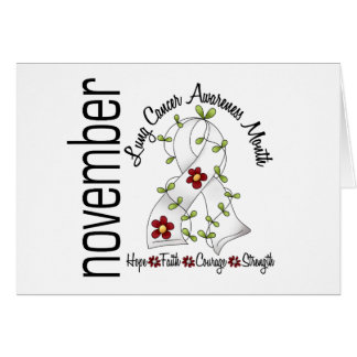 Lung Cancer Awareness Month Flower Ribbon 1 Greeting Card