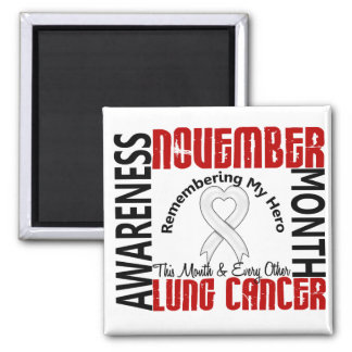 Lung Cancer Awareness Month Heart 1.4 Magnet