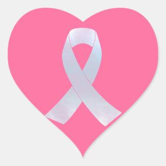 Lung Cancer Awareness Ribbon Heart Sticker
