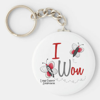 Lung Cancer Butterfly 2 I Won Basic Round Button Key Ring