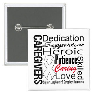 Lung Cancer Caregivers Collage Pinback Button