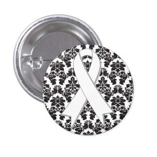 Lung Cancer Damask Pearl Ribbon 3 Cm Round Badge