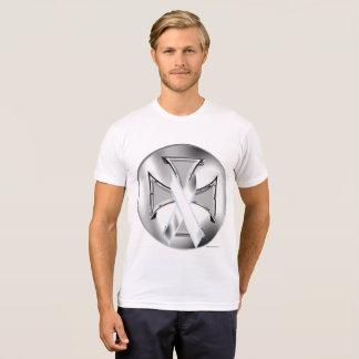 Lung Cancer Iron Cross Men's Poly-Cotton T-Shirt