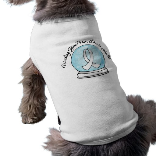 Lung Cancer Ribbon Merry Christmas Snowglobe Pet Tee