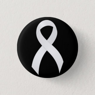 Lung Cancer White Ribbon 3 Cm Round Badge