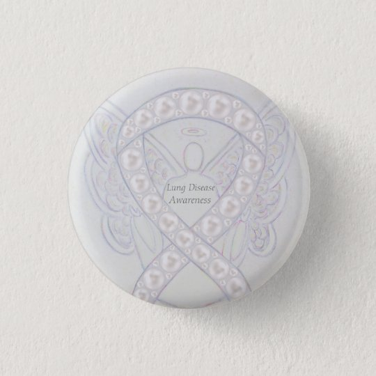 Lung Disease Awareness Angel Pearl Ribbon Art Pin
