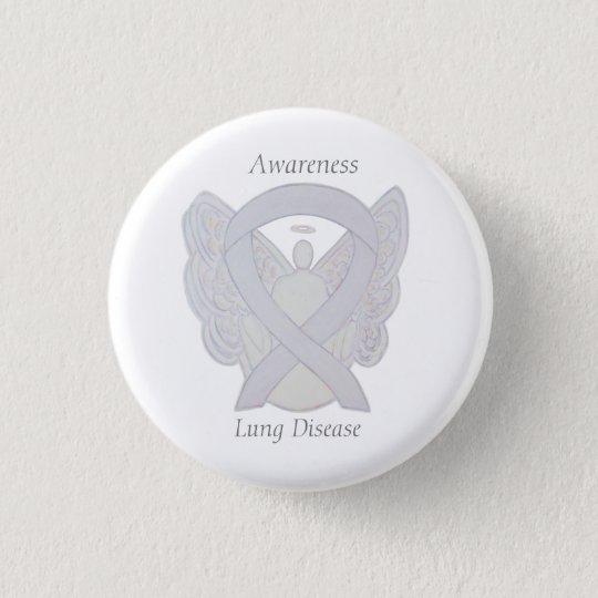 Lung Disease Awareness Angel Pearl Ribbon Art Pin