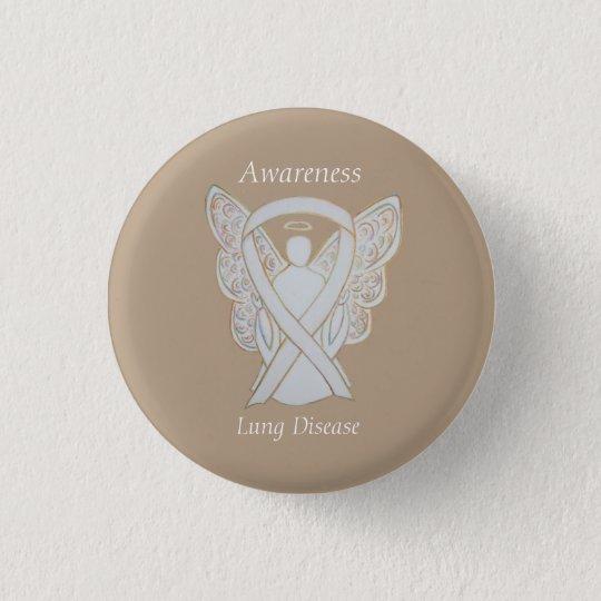 Lung Disease Awareness Angel White Ribbon Art Pin