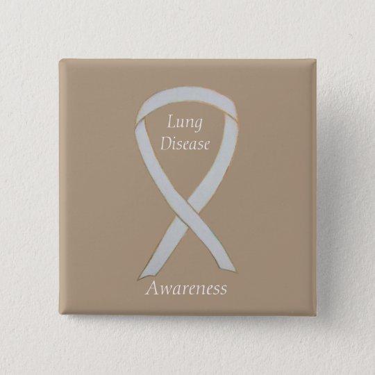 Lung Disease Awareness White Ribbon Art Pin