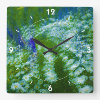Lupine and Daisy Floral Swirl Square Wall Clocks