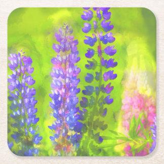 Lupine Painting - Original Flower Art Square Paper Coaster