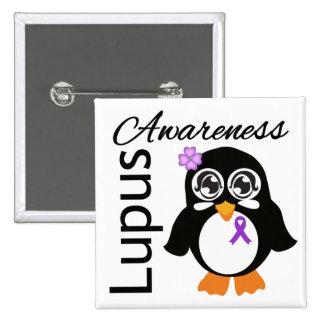 Lupus Awareness Penguin Pinback Button