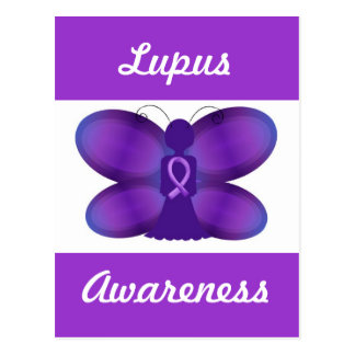 Lupus Awareness purple fairy butterfly Postcard