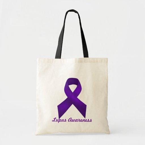 Lupus Awareness Purple Ribbon Tote Bags