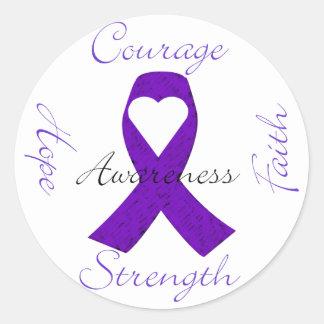 Lupus Pancreatic Thyroid purple ribbon awareness Round Stickers