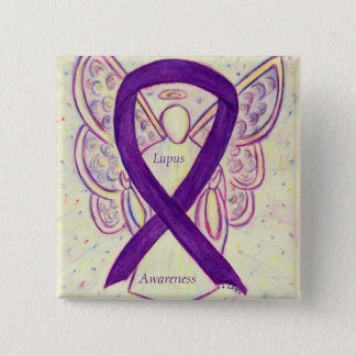 Lupus Purple Awareness Ribbon Angel Custom Art Pin