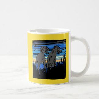 Lurchers overseeing the world coffee mug