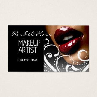 Luscious Glossy Lips Curliques | white Business Card
