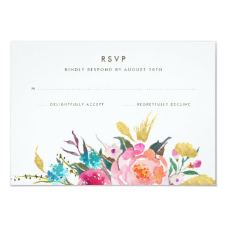 Lush Bouquet Wedding RSVP Card