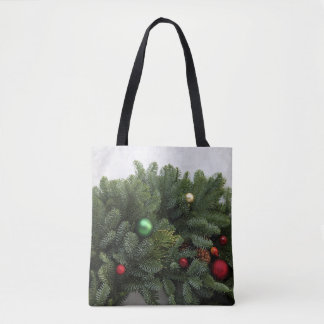 Lush Christmas wreath Tote Bag
