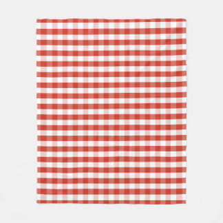 Lush Dahlia Red & White Gingham Check Plaid Fleece Blanket