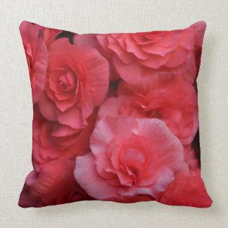 Lush Double Pink Begonia Cushion