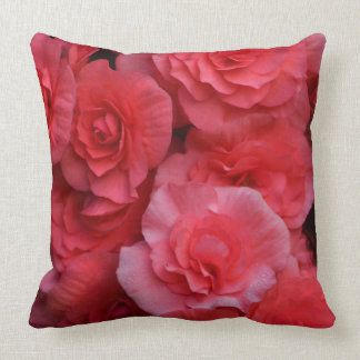 Lush Double Pink Begonia Throw Pillow
