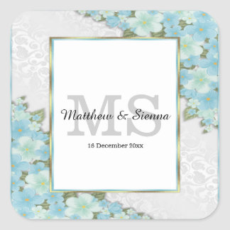 Lush floral wedding square sticker