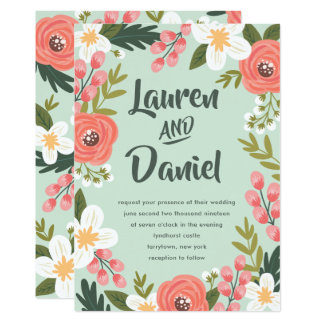 Lush Florals Wedding Invitation | Mint