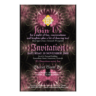 Lush Fractal Invitation Event Flyer Customised Stationery