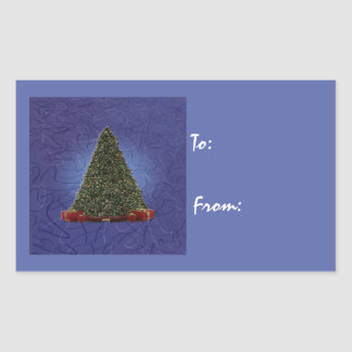 Lush Green Christmas Tree on Abstract Blue Rectangular Sticker