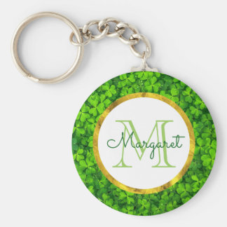 Lush Green Clovers with FAUX Gold Foil & Monogram Basic Round Button Key Ring