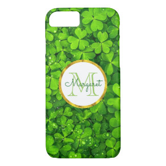 Lush Green Clovers with FAUX Gold Foil & Monogram iPhone 8/7 Case