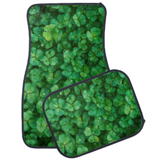 Lush Green Clovers with Water Drops Car Mat