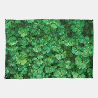 Lush Green Clovers with Water Drops Tea Towel