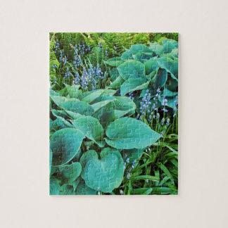 Lush green hosta and fern plant garden puzzle
