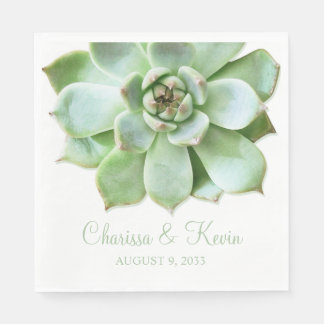 Lush Green Succulent Wedding or Bridal Shower Disposable Serviettes