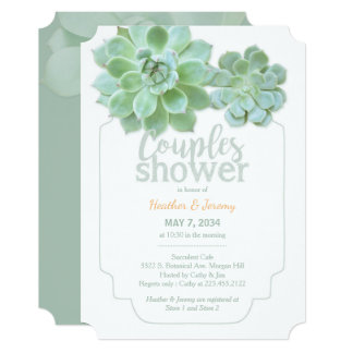 Lush Green Succulents Couples Shower Card