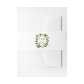 Lush Greenery Wreath - Laurel Rustic Woodland Invitation Belly Band