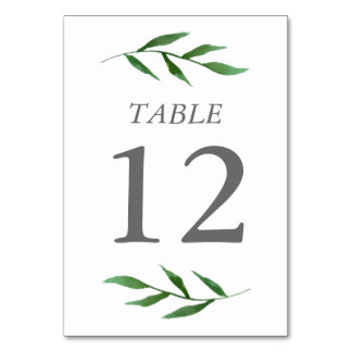 Lush Leaves Elegant Watercolor Table Number Card