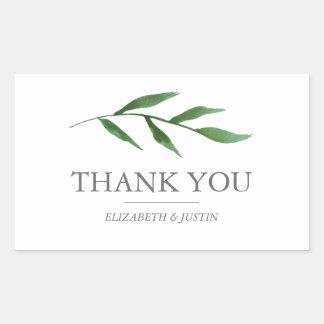 Lush Leaves Elegant Watercolor Thank You Favor Rectangular Sticker