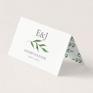 Lush Leaves Elegant Watercolor Wedding PlaceCards Place Card