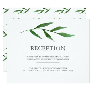 Lush Leaves Elegant Watercolor Wedding Reception Card