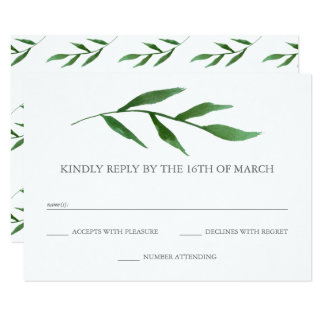 Lush Leaves Elegant Watercolor Wedding RSVP Card